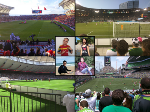 Meeting fellow members of the incoming Yale College Class of 2019 during a post-graduation Major League Soccer road trip—clockwise from top left: Garrett Bingham MC'19 at Rio Tinto Stadium in Sandy, Utah; Minh Nguyen ES'19 at Providence Park in Portland, Oregon; Amy Nichols SY'19 at CenturyLink Stadium in Seattle, Washington; Nicolas Wicaksono SM'19 at BC Place in Vancouver, British Columbia | Collage of photographs submitted by Garrett Bingham
