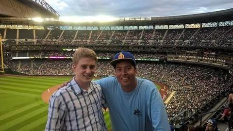 With Steve Pitti, master of Ezra Stiles College and professor of History and American studies, during an internship in baseball operations with the Seattle Mariners | Photograph submitted by Grant Bronsdon, Yale College Class of 2016 (ES)