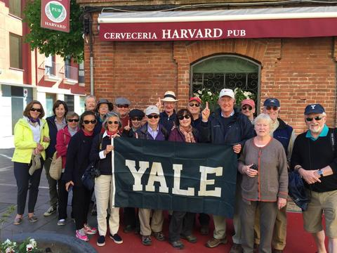 With an Association of Yale Alumni travel group on the Camino de Santiago in Leon, Spain | Photograph submitted by Harold W. Attridge, Sterling Professor of Divinity and professor of religious studies and classics