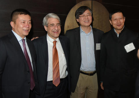 At Yale Center Beijing advisory board dinner with, from left: Charles Cao, Yuanqing Yang, and Neil Shen (host)